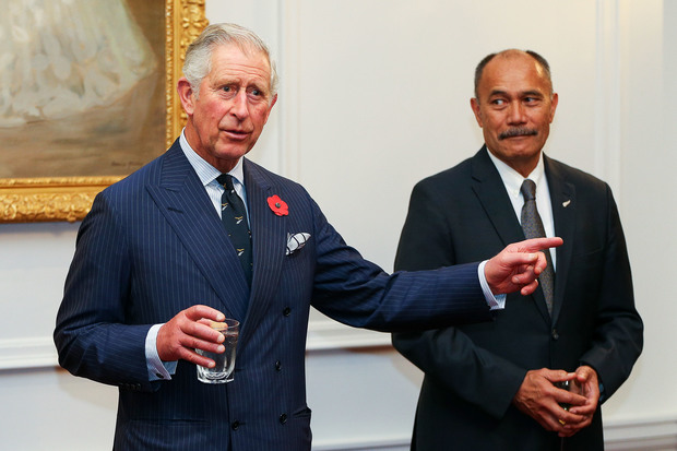 Prince Charles and Governor-General Sir Jerry Mateparae at a state reception at Government House in Wellington on the evening of 11 November 2015.