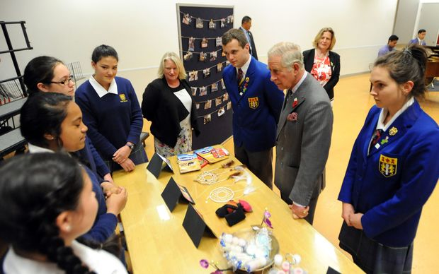 Prince Charles meets Tawa College students.
