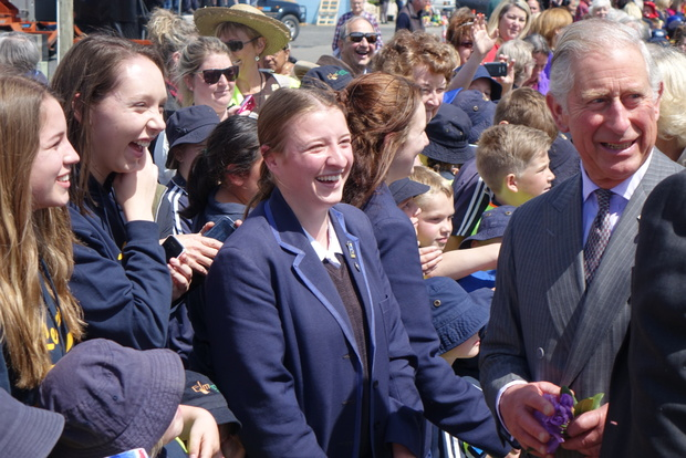 Prince Charles greets young fans at Mosgiel Railway Station.