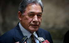 Winston Peters on the bridge at Parliament.