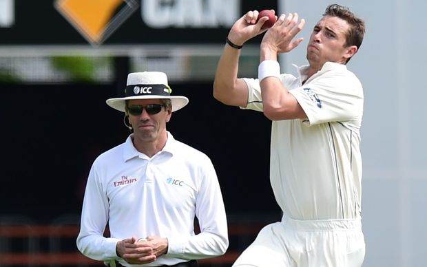 Black Caps bowler Tim Southee in action at the Gabba.