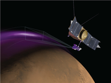 Artist's Concept of MAVEN Observing Aurora on Mars