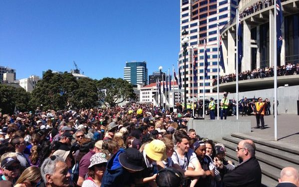 Crowds gather to welcome the All Blacks in Wellington.