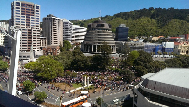 The All Blacks' parade, as seen from Rutherford House in Wellington.