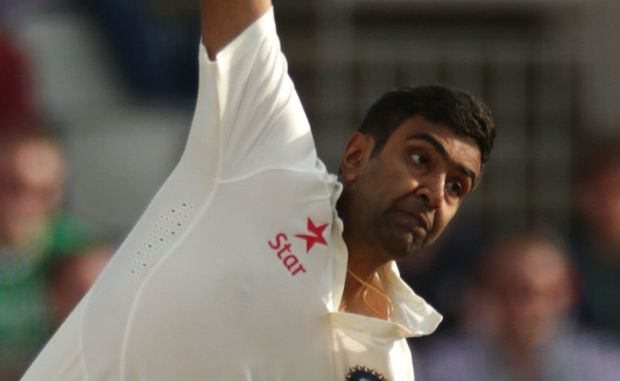 Ravichandran Ashwin bowls for India.