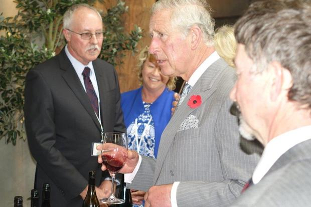 Prince Charles samples some of the wine on offer at the Nelson Tasman food and wine event.
