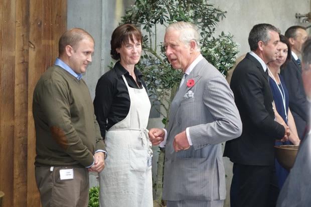 Prince Charles chats to some of the Nelson Tasman region's food and wine producers at the event in the Mahana Winery cellar,