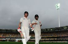 Brendon McCullum and Ross Taylor leave the Gabba.
