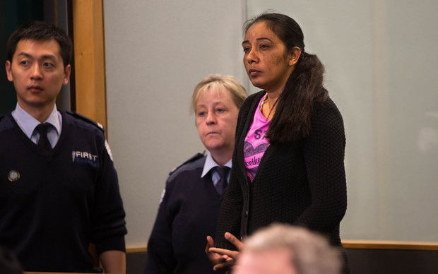Amandeep Kaur standing in the dock at the Auckland High Court
