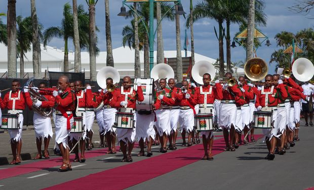 The band of the Republic of Fiji Military Forces at parliament opening 2015
