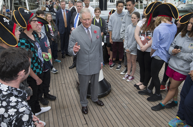Prince Charles on board the Spirit of New Zealand.