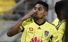 Wellington Phoenix striker Roy Krishna celebrates a goal.