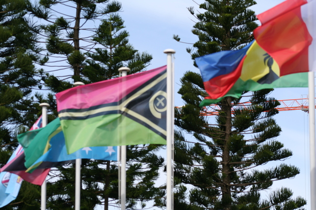 Melanesian Spearhead Group flags flown in Noumea.