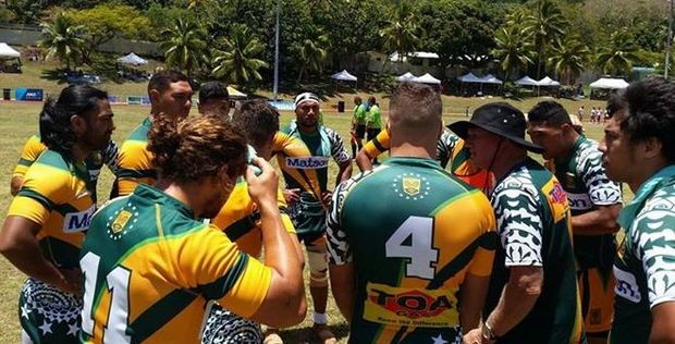 The Cook Islands Sevens team during the 'Sevens in Heaven' competition.