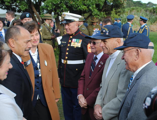 Governor-General Sir Jerry Mateparae met with veterans Frank Zalot Jr,  left, Ray Plant and Ted Picard on Monday.