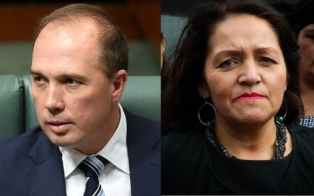 Australian immigration minister Peter Dutton and Maori Party co-leader Marama Fox