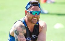 The Black Caps captain Brendon McCullum laughs during training before the 2nd test against Australia in Perth.
