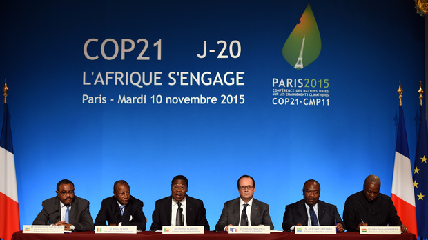 A joint media conference following a pre-COP 21 climate meeting on 10 November 2015 at the Elysee Presidential Palace.
