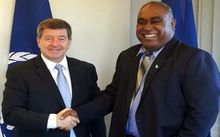 Minister Semi Koroilavesau, (right), meets ILO Director-General Guy Ryder.