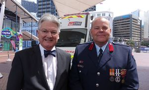 Minister Peter Dunne and the National Commander of the Fire Service Paul Baxter