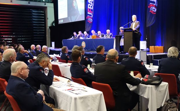 Minister Peter Dunne making the announcement at the United Fire Brigades Association Conference in Wellington.