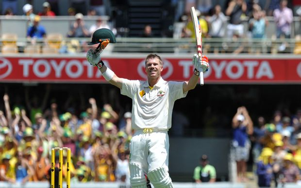 David Warner celebrates century against New Zealand.