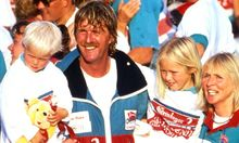 Sir Peter Blake, Wife Pippa and children celebrate winning the Whitbread Yachting race, with Steinlager 2, 1989/90.