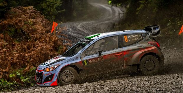 Hayden Paddon tries to control his Hyundai on a corner at the Wales Rally