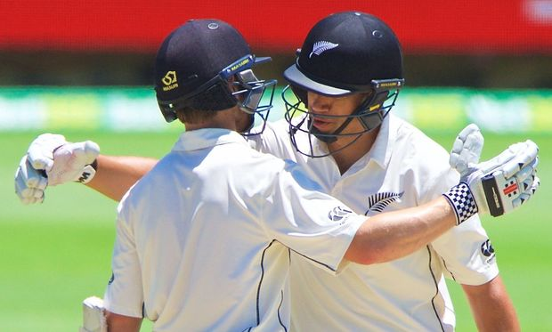 Kane Williamson and Ross Taylor celebrate Williamson's century, Perth 2015.