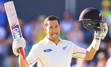 Ross Taylor celebrates his double century, Perth, 2015.