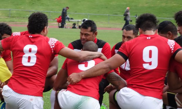 Tonga men's sevens coach Andy Katoa and his team debrief after losing the Oceania Championship final to Australia.