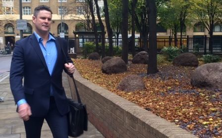 Chris Cairns arriving for defence closing.