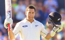 The New Zealand batsman Ross Taylor celebrates scoring a double century.