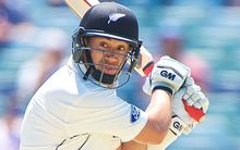 The Black Caps batsman Ross Taylor of  cuts late for his century during Day 3 of the second test.