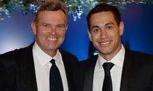 Martin Crowe (left) and Ross Taylor at the 2014 Cricket Awards Dinner.