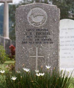 Grave of Trooper Adrian Raymond Thomas in Malaysia.