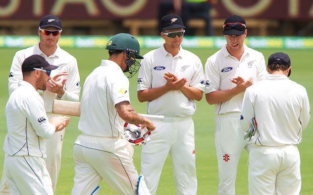 The Black Caps lineup to welcome Australia's Mitchell Johnson to the crease for his final test innings.