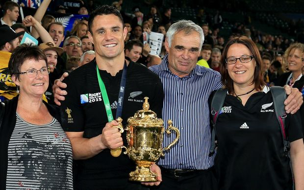 Dan Carter and family with the World Cup