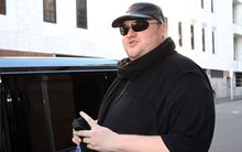 Kim Dotcom outside the Auckland courthouse.