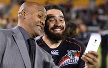 Jonah Lomu and Warriors centre Konrad Hurrell have a laugh taking a selfie at a Warriors game earlier this year.