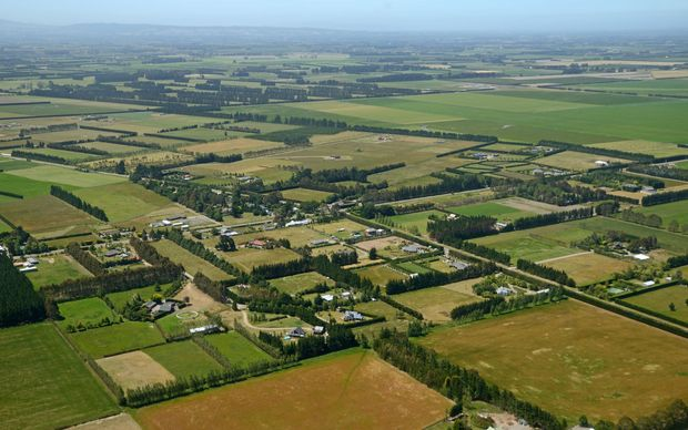Aerial of small lifestyle blocks in Canterbury.