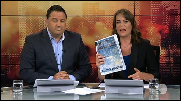 sreenshot of Duncan Garner and Heather du Plessis-Allan on TV3's 'Story' with copy of Dirty Politics