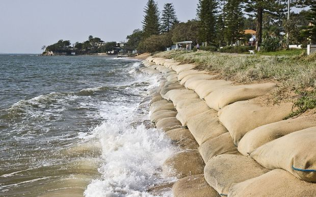 Erosion caused by rising sea levels due to global warming.