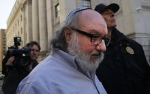 Former US Navy intelligence analyst Jonathan Pollard, who spied for Israel, leaves a New York court house after his release from prison early on Friday after 30 years on November 20, 2015 in New York, New York.