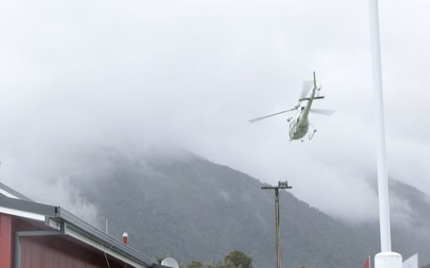 The first recovery chopper leaves for the Fox Glacier.