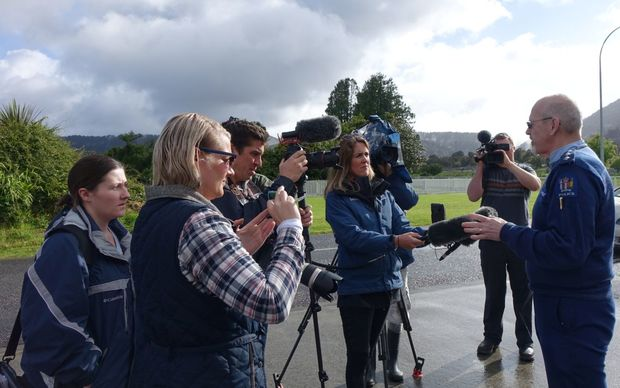 Inspector John Canning briefs media on the helicopter crash at Fox Glacier.