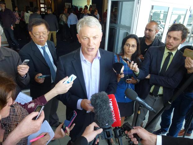 Phil Goff talking to media after confirming he would run for the Auckland mayoralty.