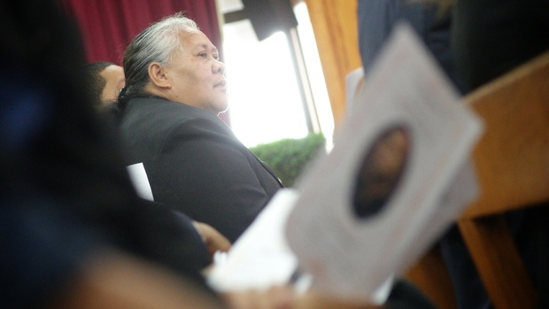 Jonah Lomu's mother, Hepi, seated during the service.