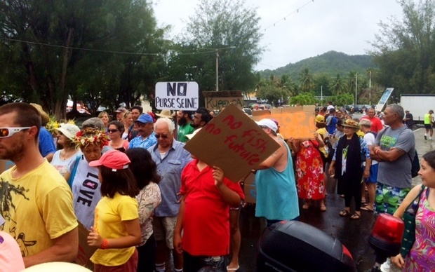 Protesters in the Cook Islands protest a draft deal between their government and the European Union.