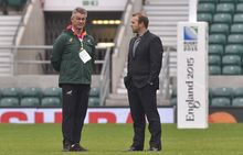South Africa rugby coach Heyneke Meyer and administrator Andy Marinos.